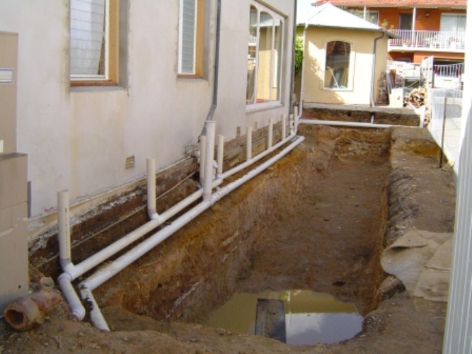 alterations for pool sewer and storm water